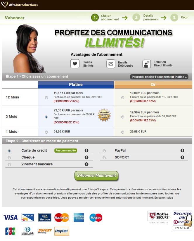 afrointroductions - Prix et Tarifs 2016