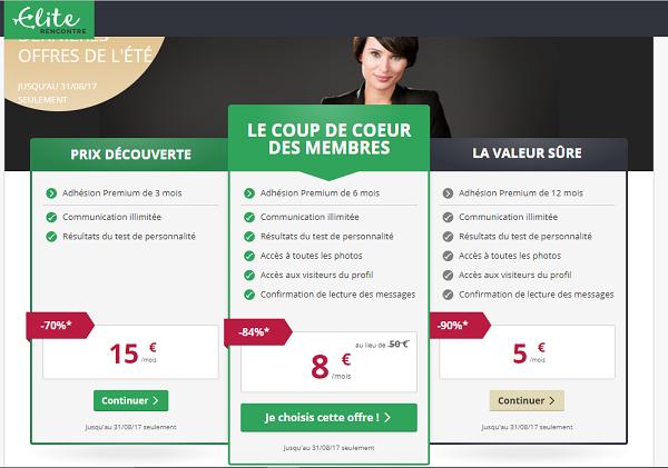 App Elite Rencontre - Tarifs et Prix Abonnement